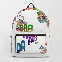 Text Map of the World Backpack