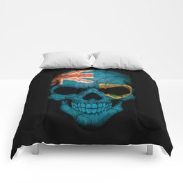 Dark Skull with Flag of Turks and Caicos Comforters