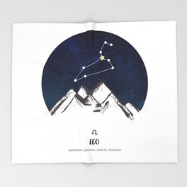 Astrology Leo Zodiac Horoscope Constellation Star Sign Watercolor Poster Wall Art Throw Blanket