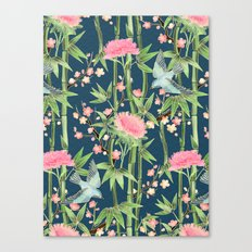 Bamboo, Birds and Blossom - dark teal Canvas Print