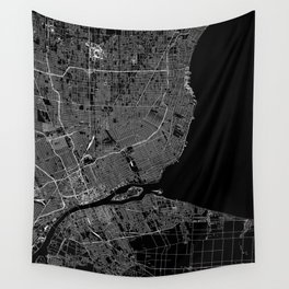 Detroit Black Map Wall Tapestry