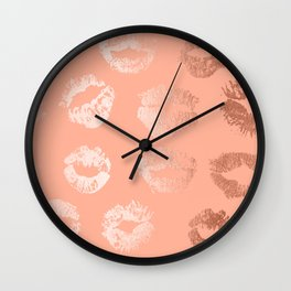 Sweet Life Lips Peach Coral Pink Shimmer Wall Clock