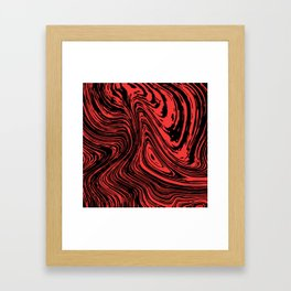 Red and black marble pattern Framed Art Print