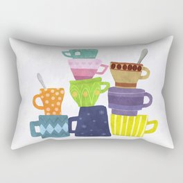 Coffee And Tea Cups And Mugs Stacked High Rectangular Pillow