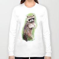 raccoon Long Sleeve T-shirts featuring Raccoon by Anna Shell