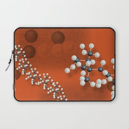 Atomic structure on red canvas Laptop Sleeve