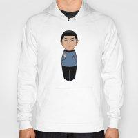 spock Hoodies featuring Kokeshi Spock by Pendientera