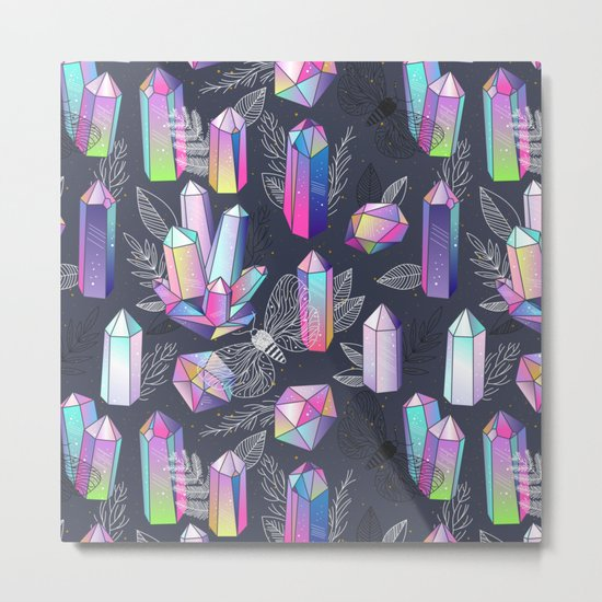 Moths and Crystals Metal Print