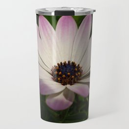 Side View of A Pink and White Osteospermum Travel Mug
