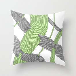 Threaded One, an abstract drawing of gray and bright green threads intersecting Throw Pillow