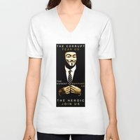 anonymous V-neck T-shirts featuring anonymous by Adam Cieslik