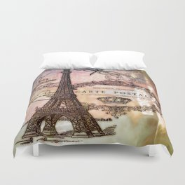Eiffel tower collage Duvet Cover