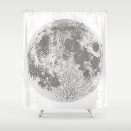 Grey Full Moon Print, by Christy Nyboer Shower Curtain