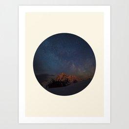The Milky Way Galaxy & Snow Mountains Art Print