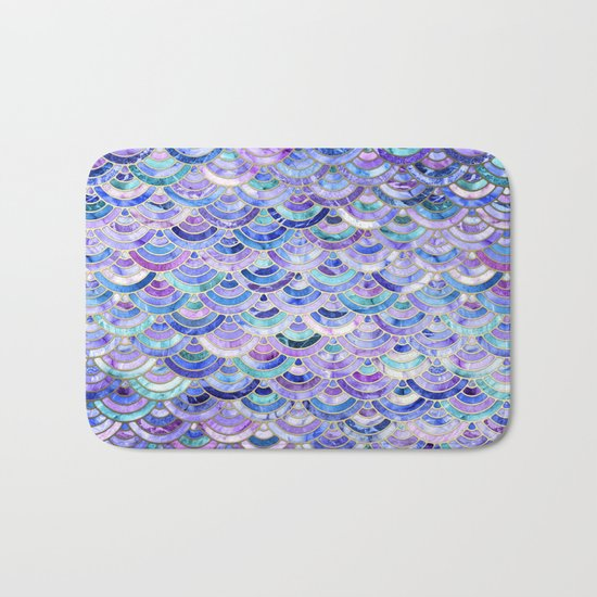 Marble Mosaic in Amethyst and Lapis Lazuli Bath Mat