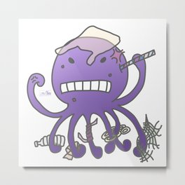 Angry octopus annoyed by plastics Metal Print