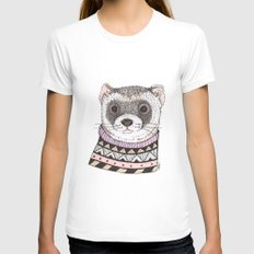Hipster Ferret Womens Fitted Tee SMALL White
