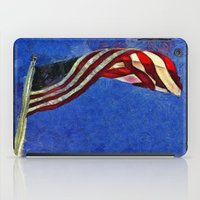 american flag iPad Cases featuring American Flag by Claire Bull