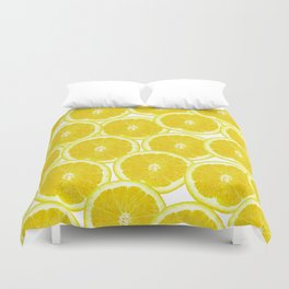 Summer Citrus Lemon Slices Duvet Cover