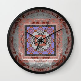 Rose Copper Coral Color Therapy Fractal Boho Mandala Wall Clock
