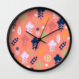 Peach floral decor Wall Clock