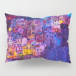 Manarola Cinque Terre Italy at Night Pillow Sham