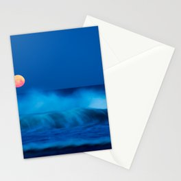 red moon above Stationery Cards