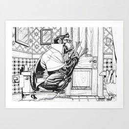 Gorilla On The Toilet. Art Print
