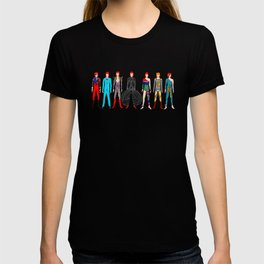 7 Red Heroes Heads Pattern Black T-shirt