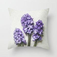 Three Lilac Hyacinth Throw Pillow