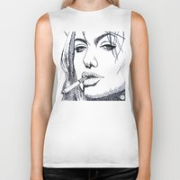 angelina jolie Biker Tanks featuring Angelina Jolie by The Curly Whirl Girly.
