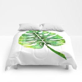 Monstera Green Leaf Comforters