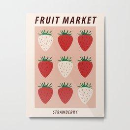 Fruit market print, Strawberry print, Posters aesthetic, Fruit art, Food art, Exhibition poster, Cottagecore Metal Print