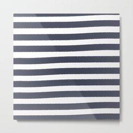 Brushy Stripes - Navy Metal Print