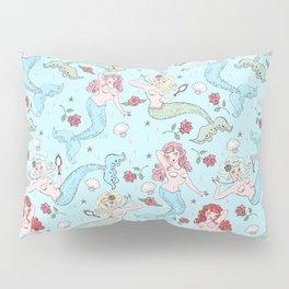 Mermaids and Roses on Aqua Pillow Sham