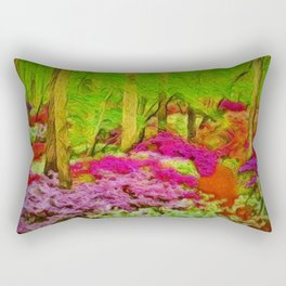 'Alone in Twilight with Rhododendrons' landscape painting by Jeanpaul Ferro Rectangular Pillow