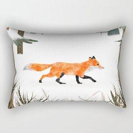 Fox In A Late Winter Snowfall Rectangular Pillow