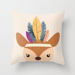 little boho deer Throw Pillow