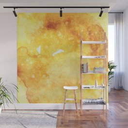 Watercolor yellow orange hand painted abstract pattern Wall Mural