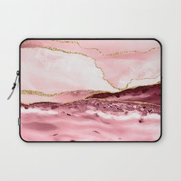 Pink And Gold Marble Waves Laptop Sleeve