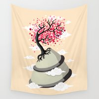 cherry blossom Wall Tapestries featuring Cherry Blossom by Freeminds