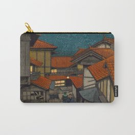 Vintage Japanese Woodblock Print Village At Night Feudal Japan Carry-All Pouch