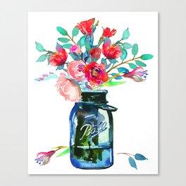 Red Peonies in Mason Jar Canvas Print