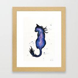 Purple Nebula Cat Framed Art Print