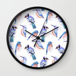 Blue birds painting- Blue jay kingfisher and bluebird Wall Clock
