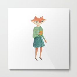 A Fox and her Coffee - gouache and watercolor painting Metal Print