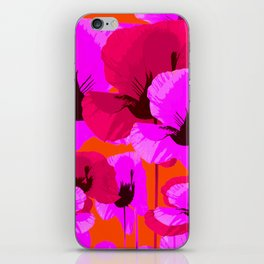 Pink And Red Poppies On A Orange Background - Summer Juicy Color Palette - Retro Mood iPhone Skin