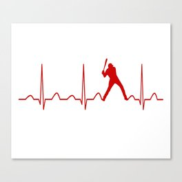 SOFTBALL MAN HEARTBEAT Canvas Print