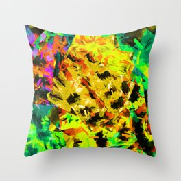 yellow green brown red orange abstract painting background Throw Pillow
