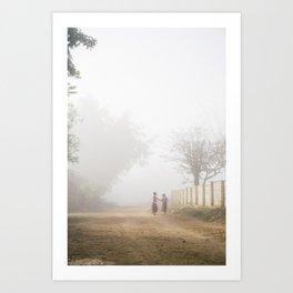 Walking to school   Kids in morning fog   Inle lake   Myanmar Travel Photography Art Print